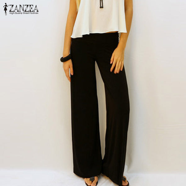 Women  Casual Loose Wide Leg Pants With Elastic Waist