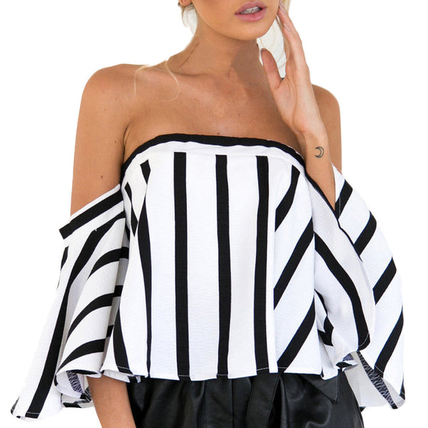 Women Striped Casual Off the Shoulder  Crop Top Shirt