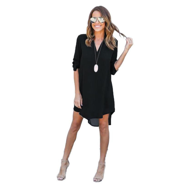 Women Chiffon Long Sleeve Split Tops Shirt Dresses