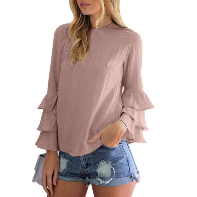 Women Ruffles Shirt O-Neck Pullover Long Puff  Sleeve Shirt