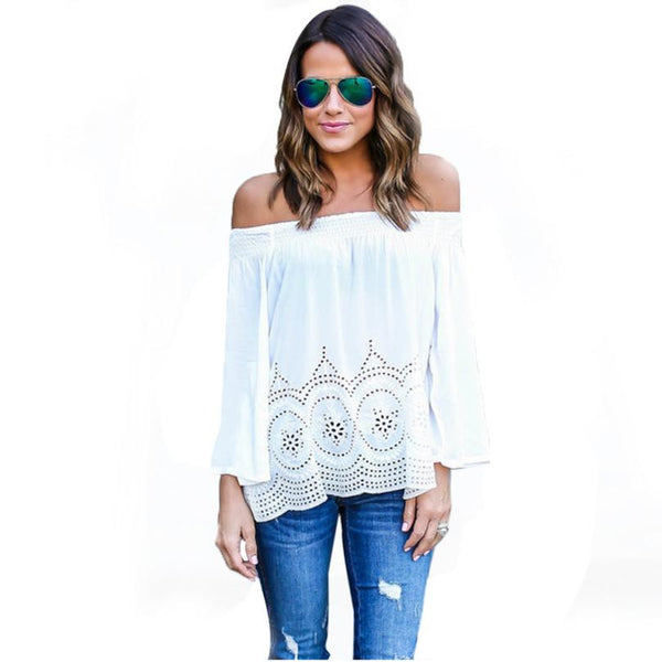 Women T-Shirt White Lace Slash Neck
