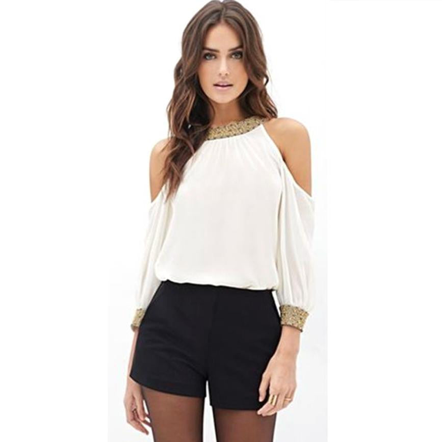 Women Long Sleeve Chiffon White  Off Shoulder Solid O-Neck Shirt