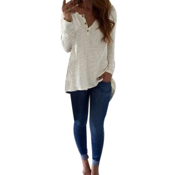Women White Long Sleeve Casual  V-Neck Shirt
