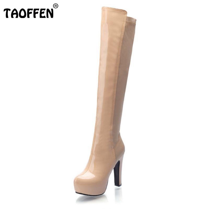 Women Boots High-Heeled Fashionable Over-The-Knee Waterproof  Size 34-39