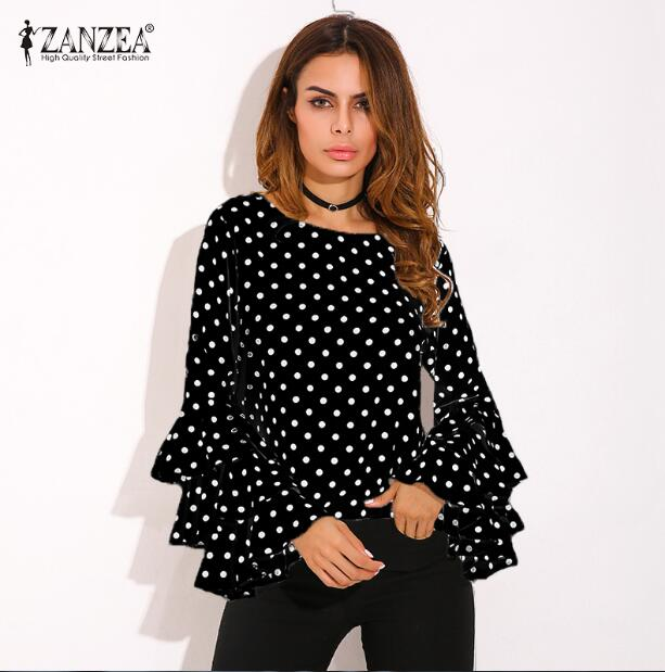 Women Ruffled Long Sleeves Polka Dot Loose Casual Tops Blouse Shirt