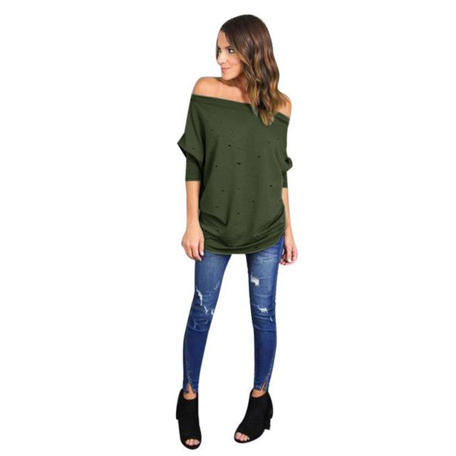 Women Cotton Long Sleeve Off The Shoulder Shirt