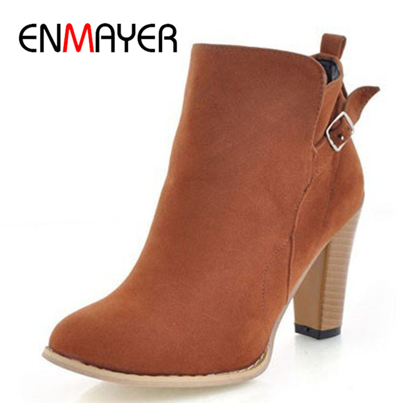 Women New Round Toe Ankle Boots  Leather