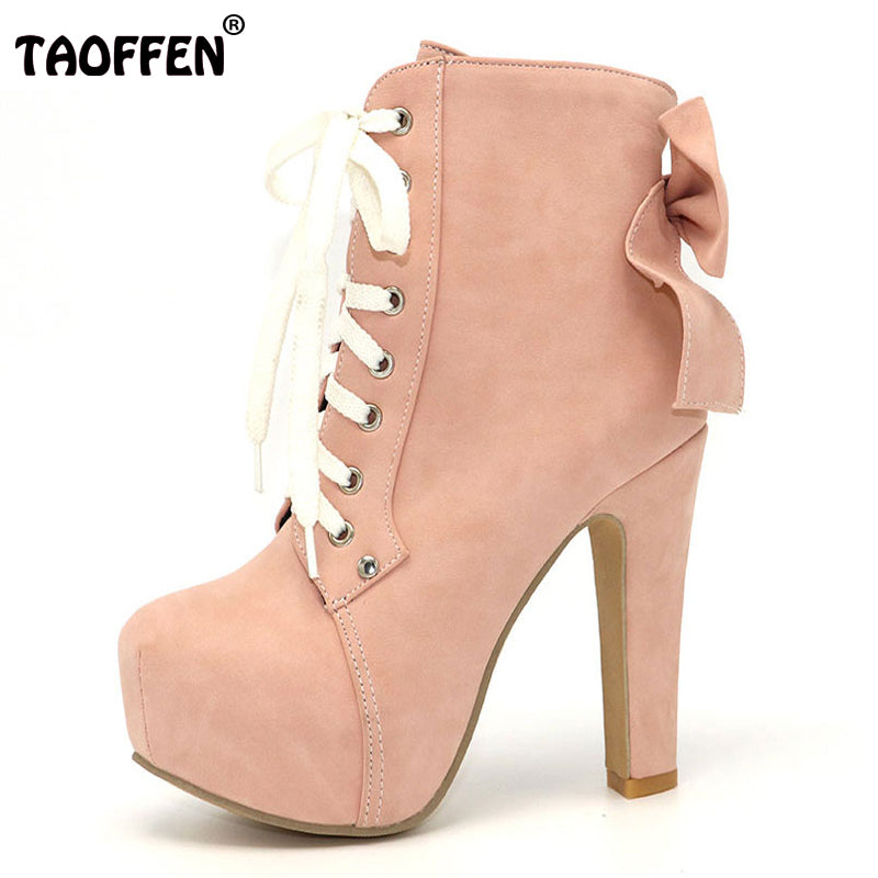 Women Boots Ankle High Heeled Lace Up Sweet Bow tie  New Fashion  Size 31-43