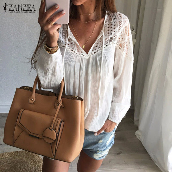 Women Loose Patchwork Lace Crochet V Neck Long Sleeve Shirt