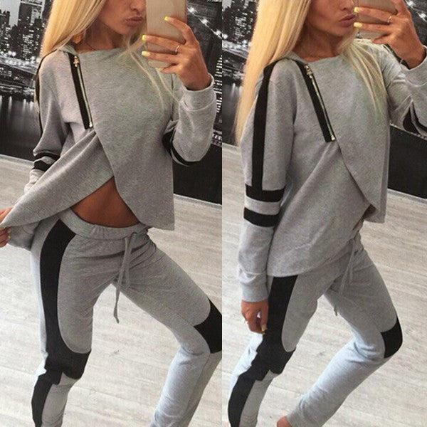 Women Tracksuits Patchwork  Sweatshirt & Pants Casual 2 Pcs Set