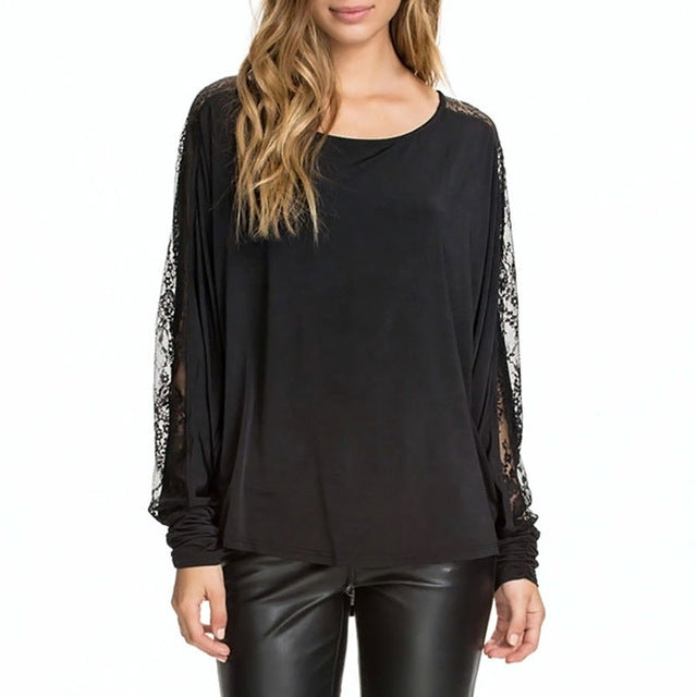Women Lace Backless Long Batwing Sleeve Shirt