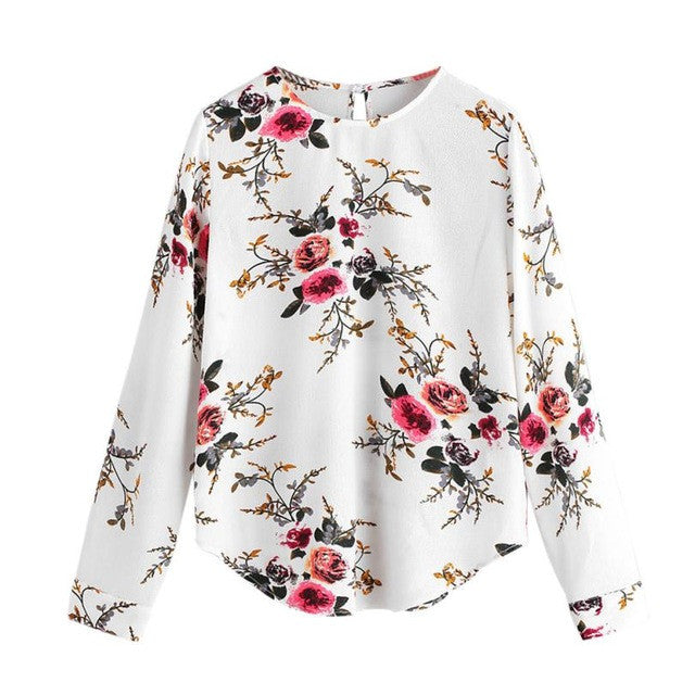 Women Print Floral Long Sleeve Chiffon Shirt