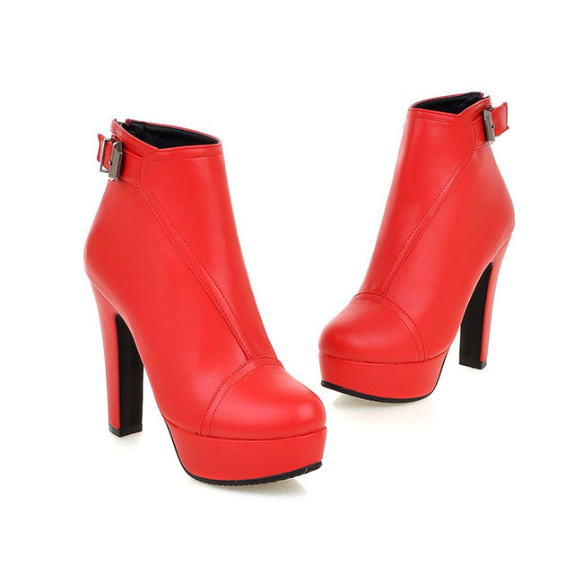 Women Round Toe Platform Red Zippers Ankle Boots Size 34-43