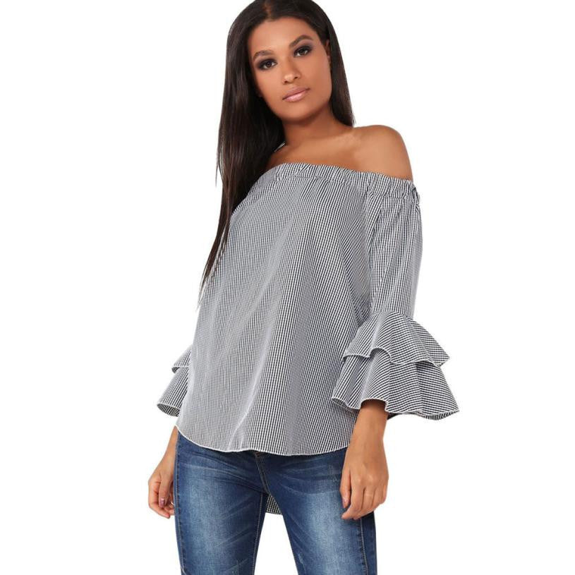 Women Gray Plaid Shirt Long Sleeve Off Shoulder