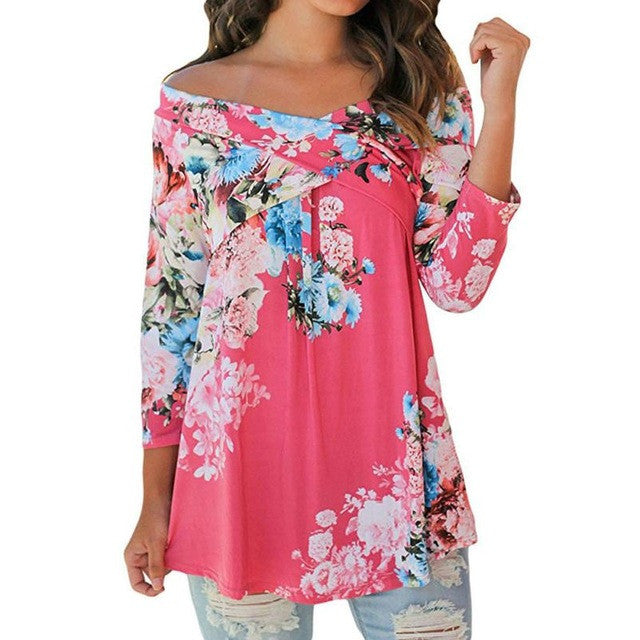 Women Long Sleeve off shoulder Shirt