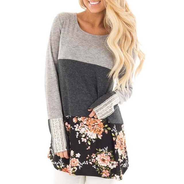 Women Floral Print Long Sleeve Shirt