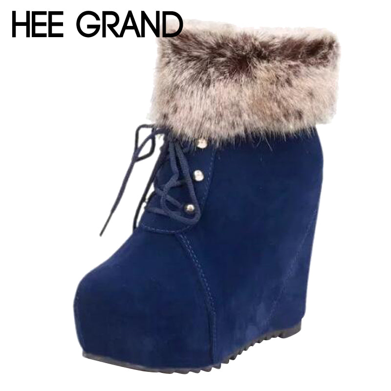 Women Plush Round Toe Ankle Boots