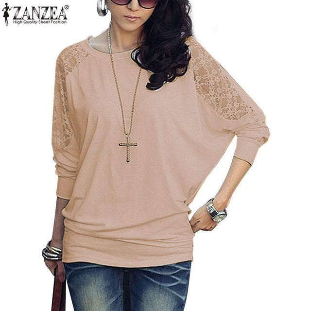 Women Batwing Lace Long Sleeve Shirt