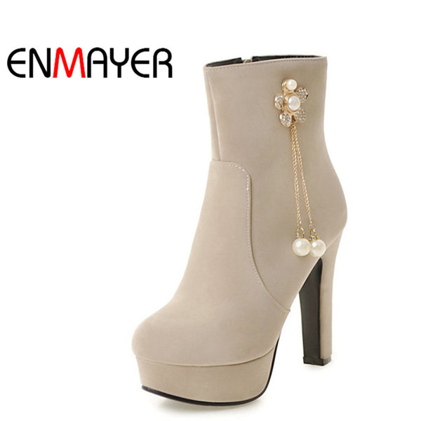 Women Ankle Boots Round Toe Platform