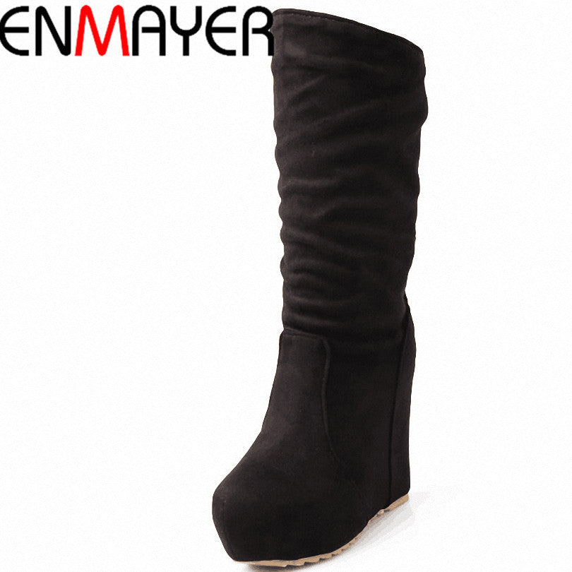 Women Mid-Calf Wedge Round Toe
