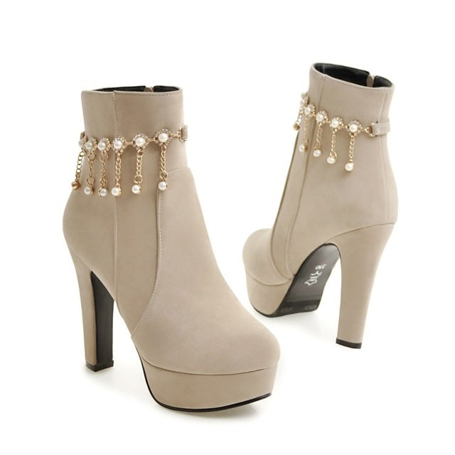Women Ankle Boots Round Toe Platform Shoes