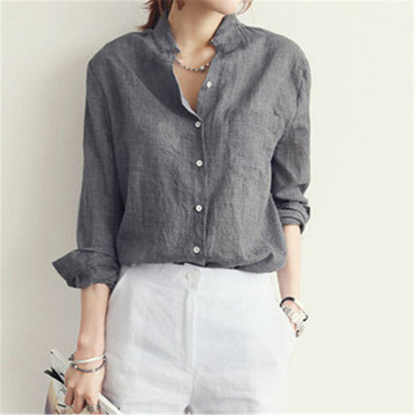 Women Cotton Linen Long Sleeve Shirt