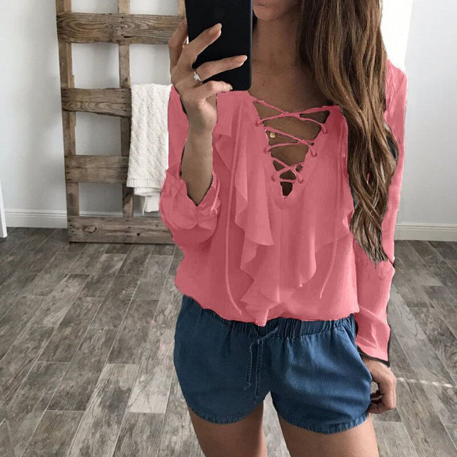Women Chiffon Lace Up V Neck Ruffles Long Sleeve Shirt