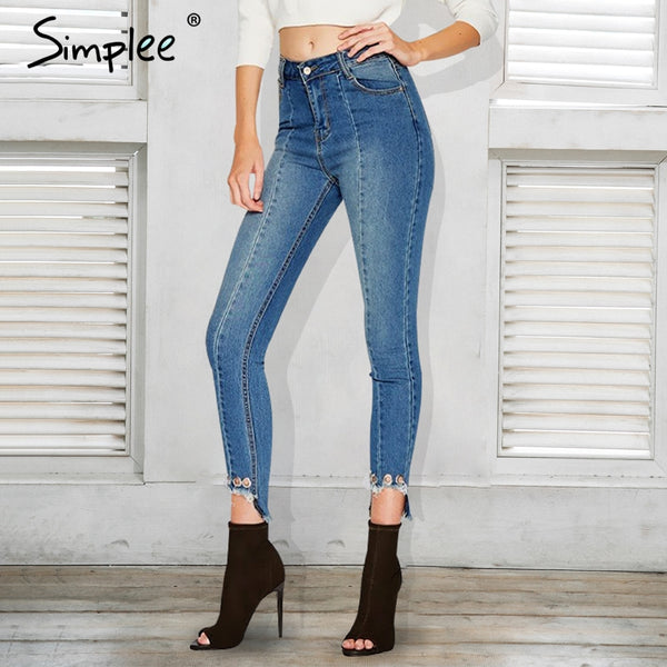 Women Hem eyelet  high waist  jeans