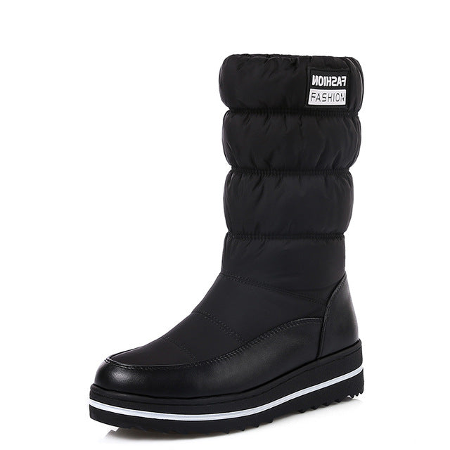 Wedges Shoes Woman Winter Boots Warm  Mid-calf