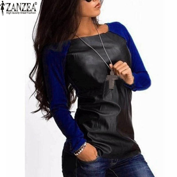Women  Long Sleeve PU Leather Patchwork Shirt