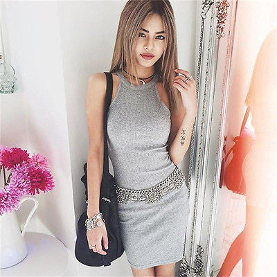 Women Solid Bandage Dress Bodycon Mini Sexy Dress