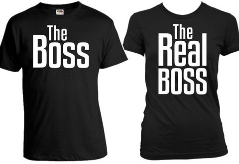 The Real Boss Couple T-shirts High Quality Material pear for couple