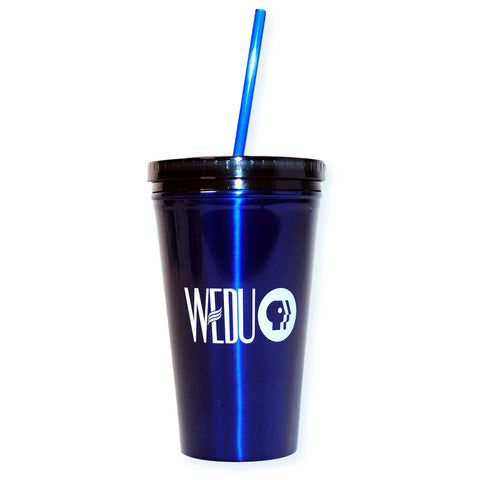 Blue Metal WEDU Tumblers with Straws