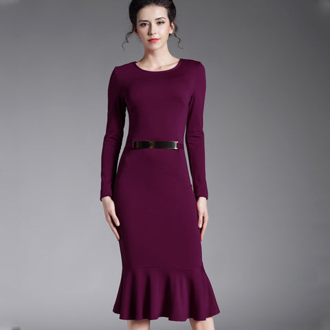 Autumn Winter Party Bodycon Dress Long Sleeve Decoration Sequined Women Elegant Prom Midi Dress Black Purple Color B242 - Monika's Dresses