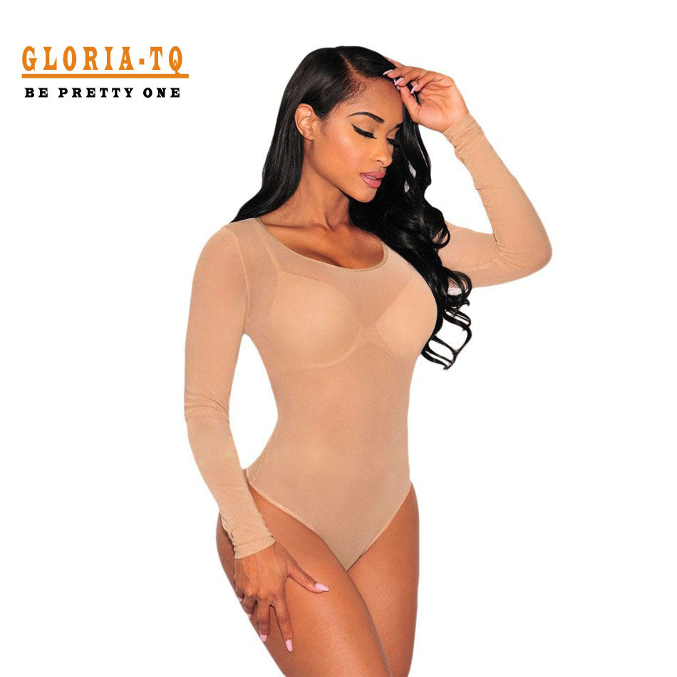 Nude Transparent Sexy Bodysuit Women Rompers Bodycon Jumpsuit Long Sleeve Mesh Bodysuit Sheer See Through Turtleneck Bodysuits - Monika's Dresses