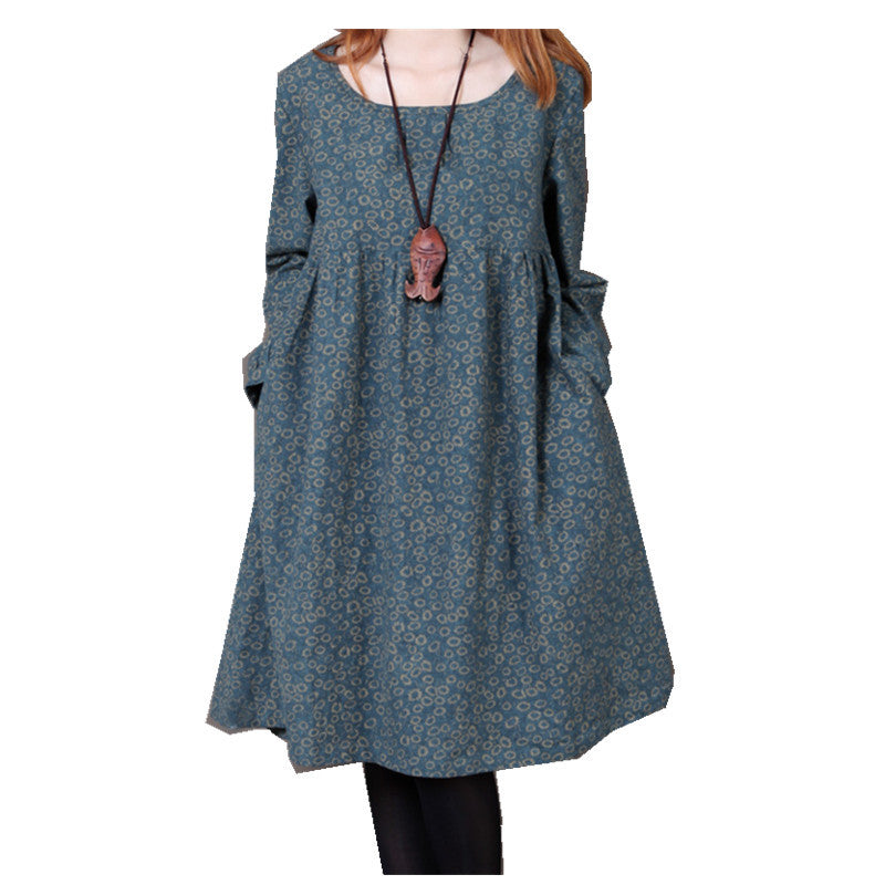 Fashion Spring And Autumn Women Cotton Dress Plus Size Long Sleeve Loose Casual O-neck Knee-Length One-piece Dress Vestidos - Monika's Dresses
