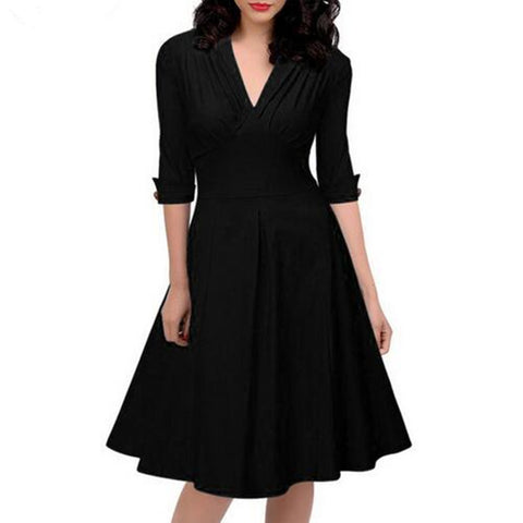 Women Retro Pleated Dresses Audrey Hepburn 50s Draped Plus Size Vintage Dresses Summer 3/4 Sleeve V Neck Slim Vestido De Festa - Monika's Dresses
