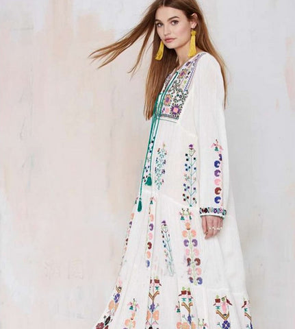 palenda 2016 new embroidery bohemian cotton dress loose pattern leisure large flowers white purple color lady