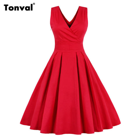 Tonval Red Dress for Christmas Women Sexy V Neck Pleated Dress Plus Size Sleeveless Backless Vintage Party Elegant Bow Dress - Monika's Dresses