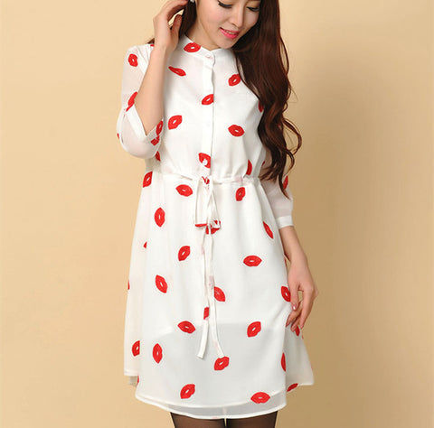 Vestidos Femininos 2016 Autumn Cute Red Lips Print Stand Collar lined Dresses Women Chiffon Dress with Sashes Plus Size S-4XL - Monika's Dresses