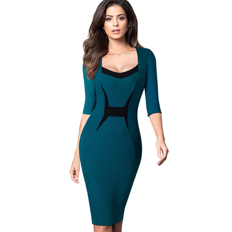 Autumn Elegant Professional Women ColorBlock Contrasting Casual Wear To Work Business Fitted Sheath Bodycon Pencil Dress EB345 - Monika's Dresses