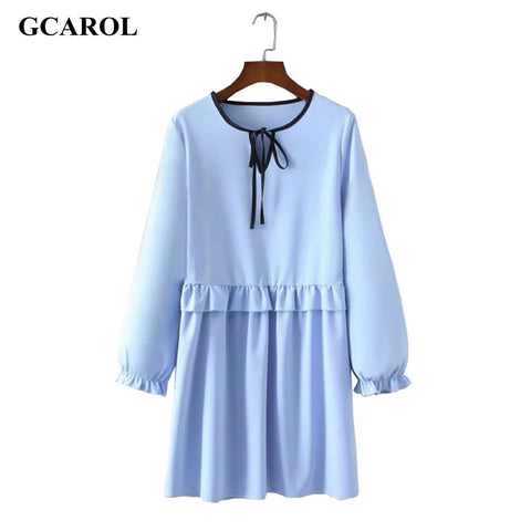 Women New Arrival Lotus Leaf Fold Dress Sky Blue Tie UP Ruffles Dress Vintage Female Casual Dress For Spring Autumn Winter - Monika's Dresses