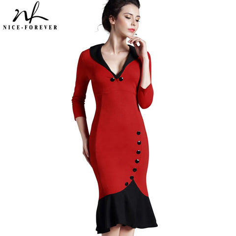 Nice-forever Mermaid Button Autumn 3/4 Sleeve red New Vintage dress V neck formal work bodycon office Wiggle Midi dress b27 - Monika's Dresses