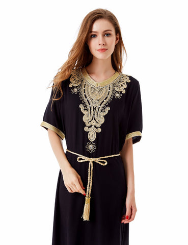 Muslim women Long sleeve Dubai Dress maxi abaya jalabiya islamic women dress clothing robe kaftan Moroccan fashion embroidey1605 - Monika's Dresses