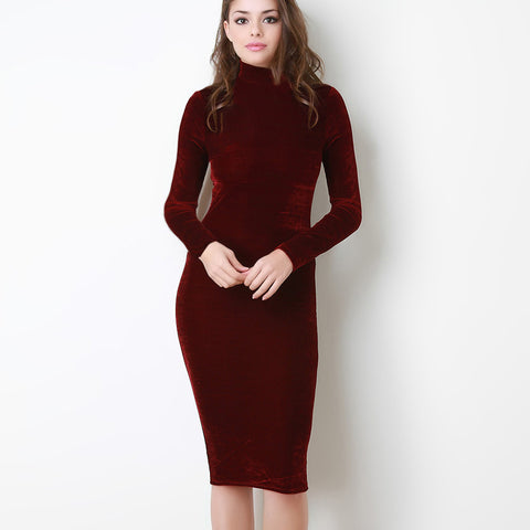 Autumn Winter Fashion Midi Pencil Dress Women Turtleneck Long Sleeve Sexy Velvet Dress Velvet High Neck Bodycon Dress - Monika's Dresses