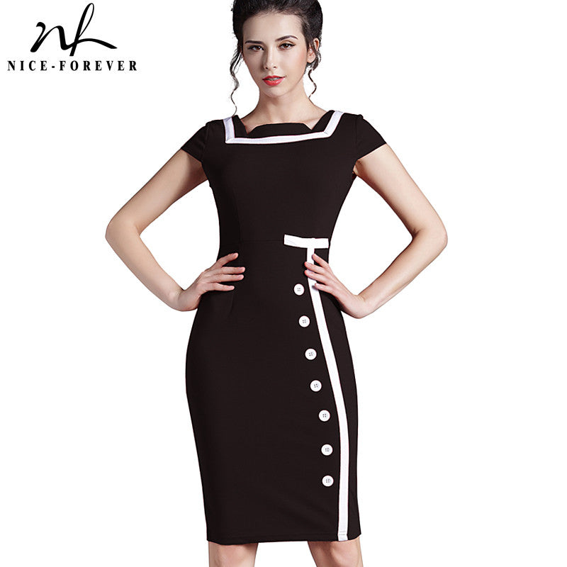 Nice-forever Plus Size Gorgeous Women Square Neck Sleeveless Button Formal Business Sheath Bodycon Vintage Pencil Midi Dress 742 - Monika's Dresses