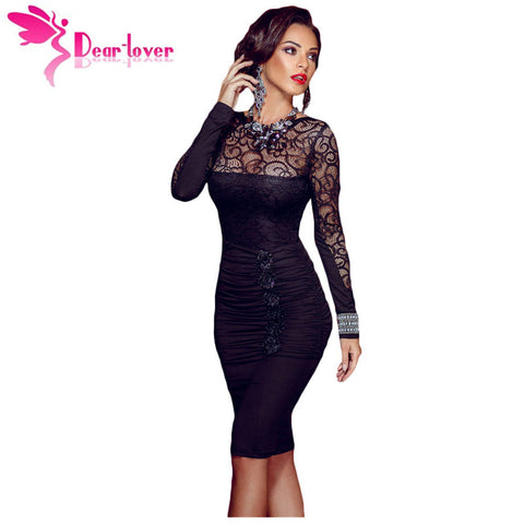 Dear Lover 2017 new autumn black sexy vestido de renda Floral Applique Lace Ruched Bodycon Midi Dress with Long Sleeved LC60820