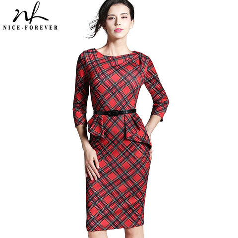 Nice-forever Spring Lady Vintage Tartan Red New Year Fitted Dress O Neck 3/4 Sleeve Belt Peplum Casual Zipper Pencil Dress B267 - Monika's Dresses