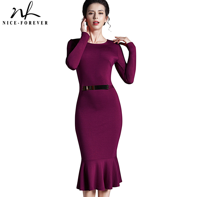 Nice-forever Casual Work dress Stylish Bodycon Office Lady Solid O