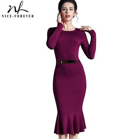 Nice-forever Casual Work dress Stylish Bodycon Office Lady Solid O Neck Full Sleeve Sequined Sheath Vintage Mermaid Dress b242 - Monika's Dresses